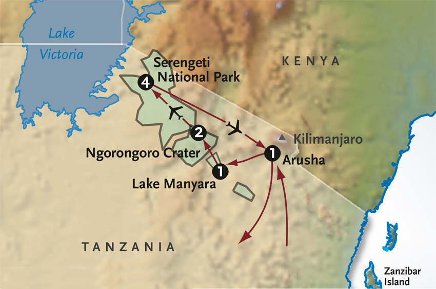 Itinerary map of Tanzania Walking Safari