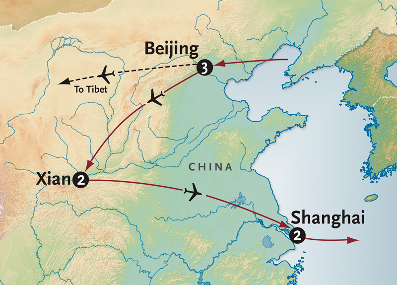 Itinerary map of Beijing, Xian & Shanghai
