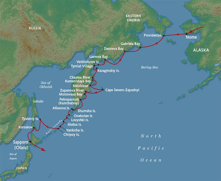 Russian Far East and Kamchatka Luxury Cruise on shikoku japan map, hokkaido japan map, indonesia japan map, kuril islands japan map, alaska japan map, tsugaru strait japan map, pacific ocean japan map, nansei japan map, japan korea strait map, tokyo japan map, akita japan map, sakhalin japan map, russia japan map, narita japan map, mount fuji japan map, iwo jima island japan map, kyoto japan map, japan japanese alps map, okinawa japan map, china japan map,