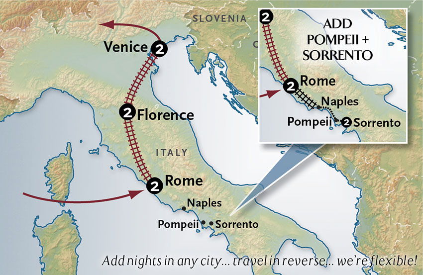 Itinerary map of Italy By Rail