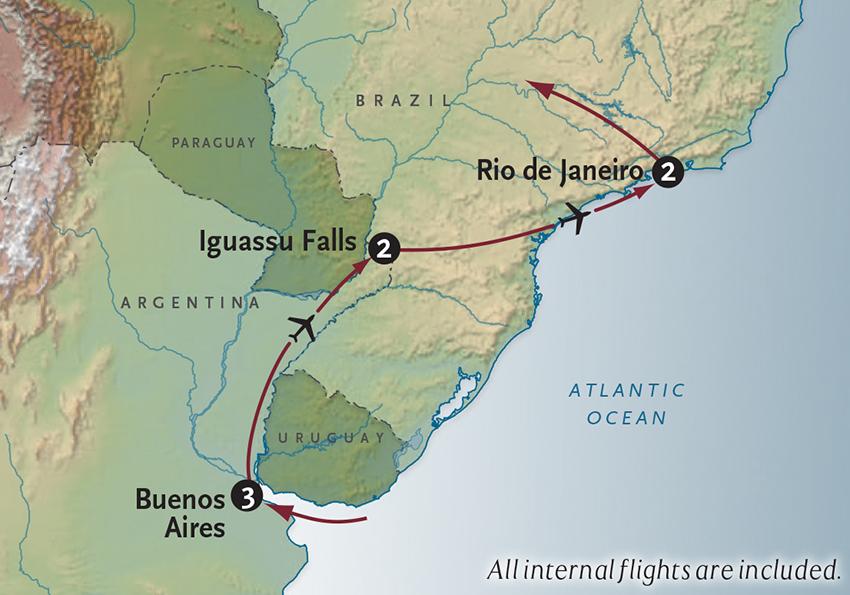 Itinerary map of Three Jewels Buenos Aires + Iguassu + Rio
