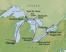 Map Of Canada 5 Great Lakes.Great Lakes Cruise By Small Ship From Chicago To Toronto