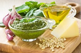 Traditional Pesto sauce and ingredients
