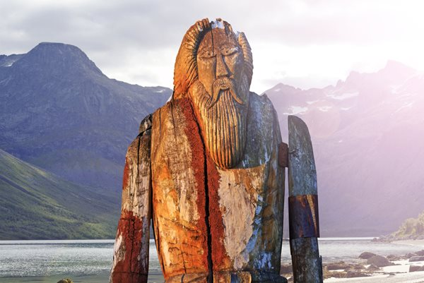 Odin statue on the shores of Iceland, Norway, Finland