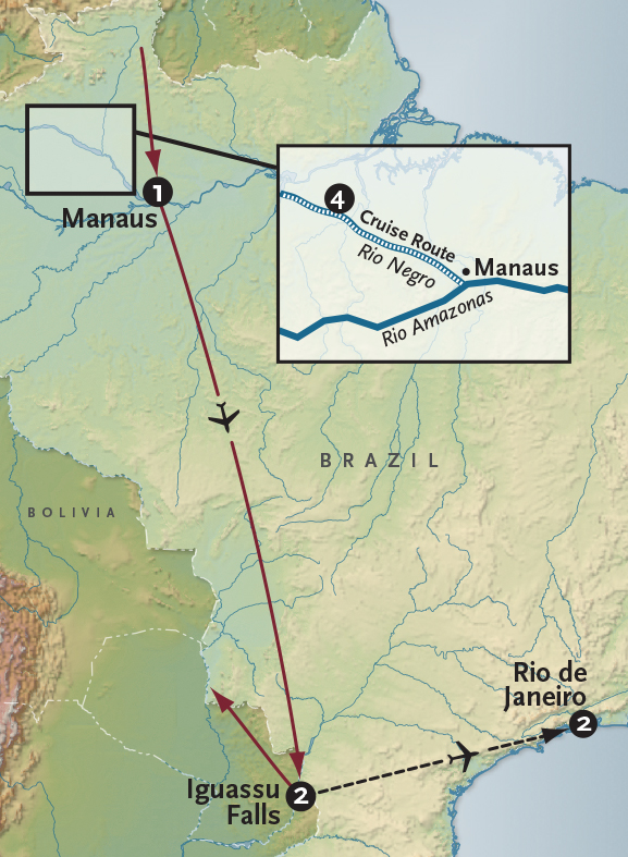 Itinerary map of Expedition to the Amazon Cruise + Iguassu Falls
