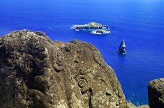 Bird Man Island and Polynesian carvings at Rapa Nui, Easter Island