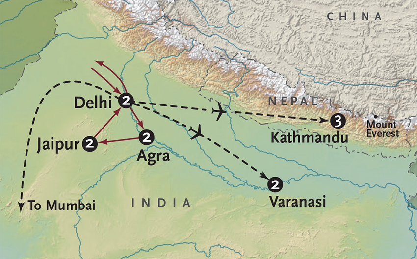 Itinerary map of Incredible India