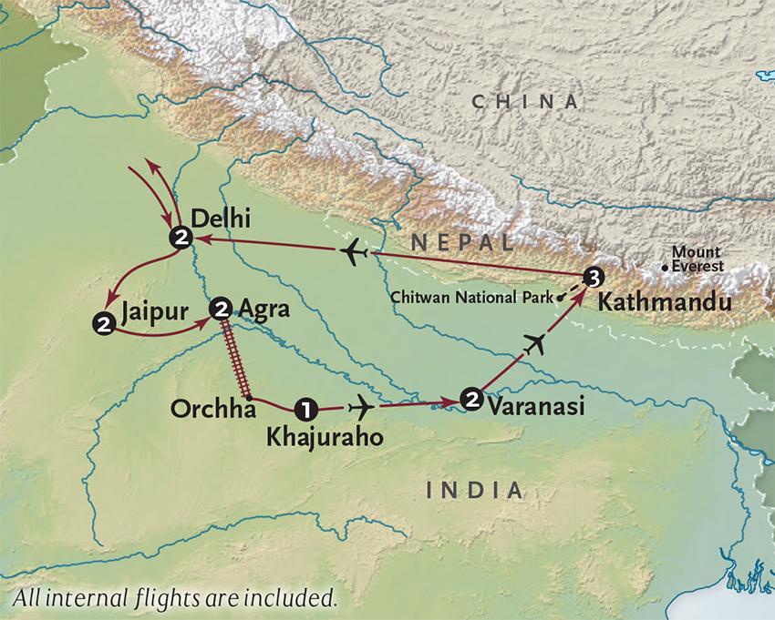 Itinerary map of Grandeur of India + Nepal