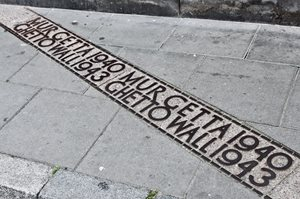 Street marker of the Warsaw Ghetto wall