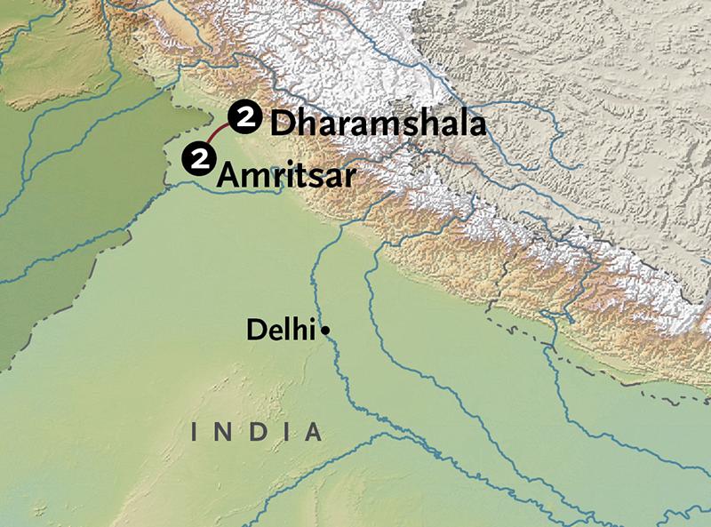 Itinerary map of Amritsar + Dharamshala