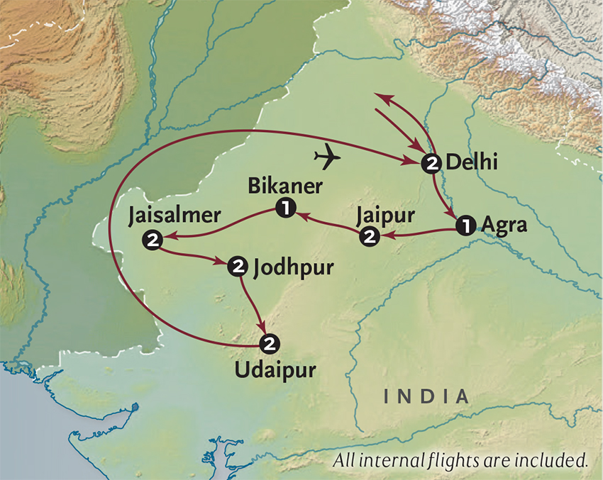 Itinerary map of Journey to Rajasthan