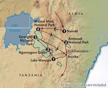 Kenya + Tanzania Safari Map