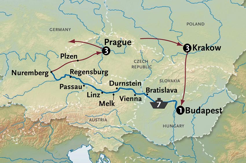 Map Of Germany Krakow.Danube River Cruise Krakow To Prague Along The Danube