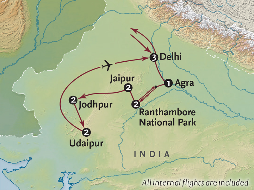 Itinerary map of Land of the Maharajahs